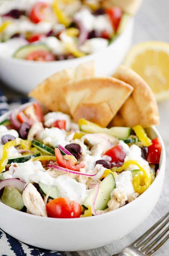 Greek Chicken Pita Bowl on table