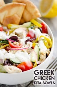 Greek Chicken Pita Bowl