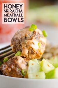 Honey Sriracha Meatball Bowls