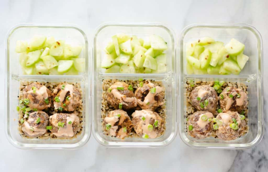 Honey Sriracha Meatballs Meal Prepped in Glass containers