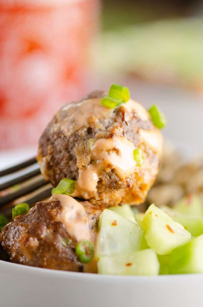 Honey Sriracha Meatball on Fork