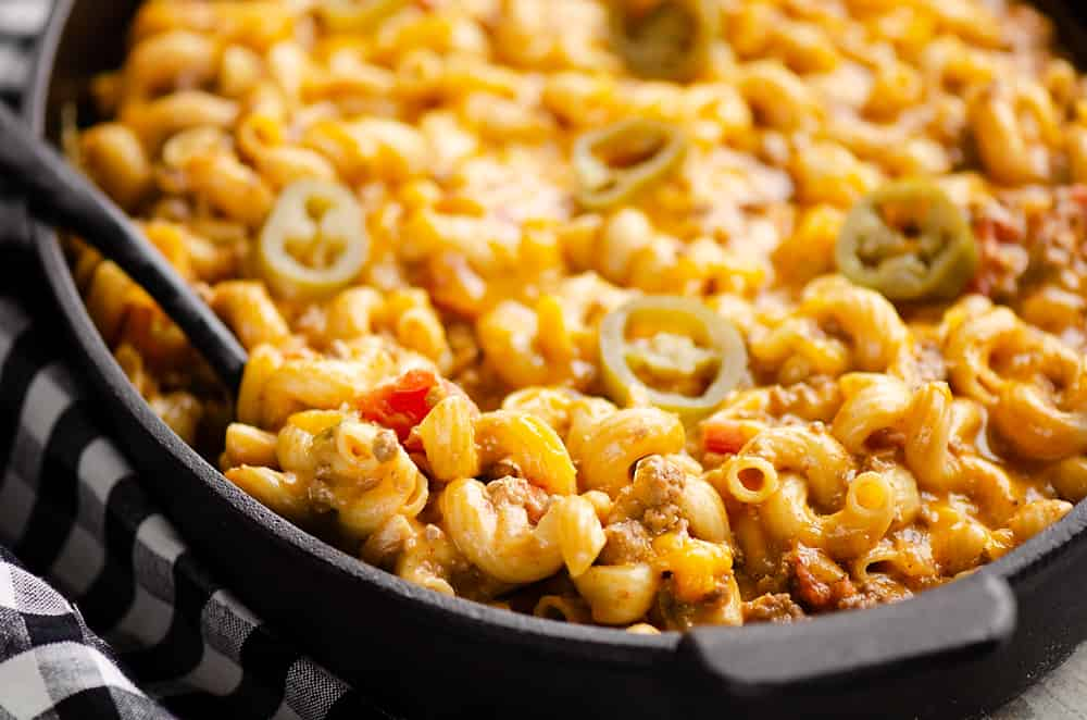 Pressure Cooker Taco Mac and Cheese served on table
