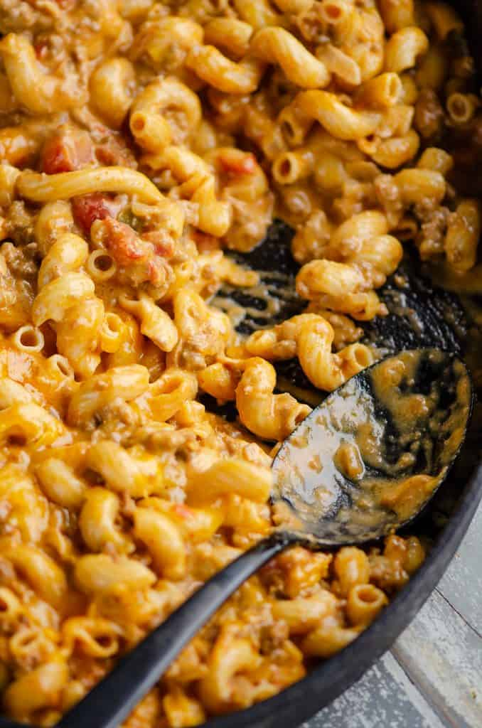 Pressure Cooker Taco Mac and Cheese scooped out to serve