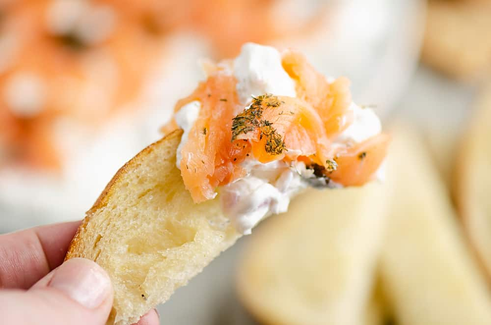 Smoked Salmon Cream Cheese Dip on sourdough bread