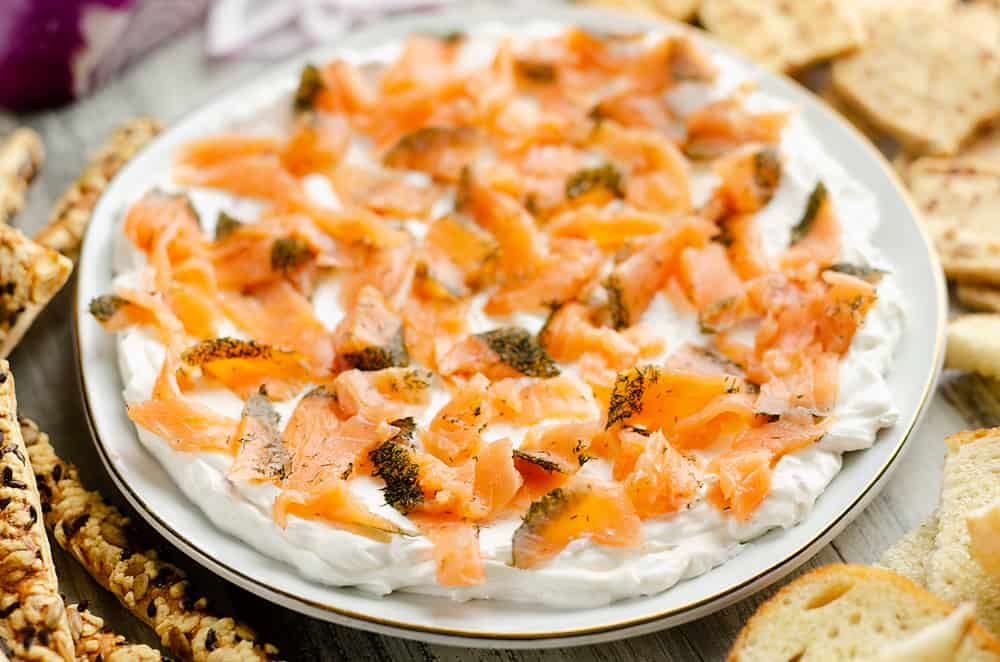 Smoked Salmon Cream Cheese Dip served with crackers and bread