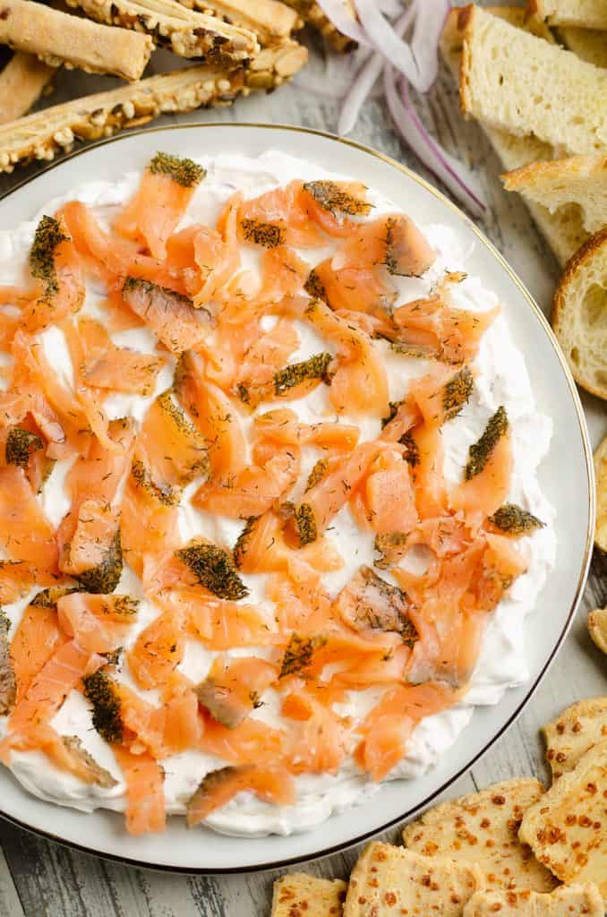 Smoked Salmon Cream Cheese Dip served on table