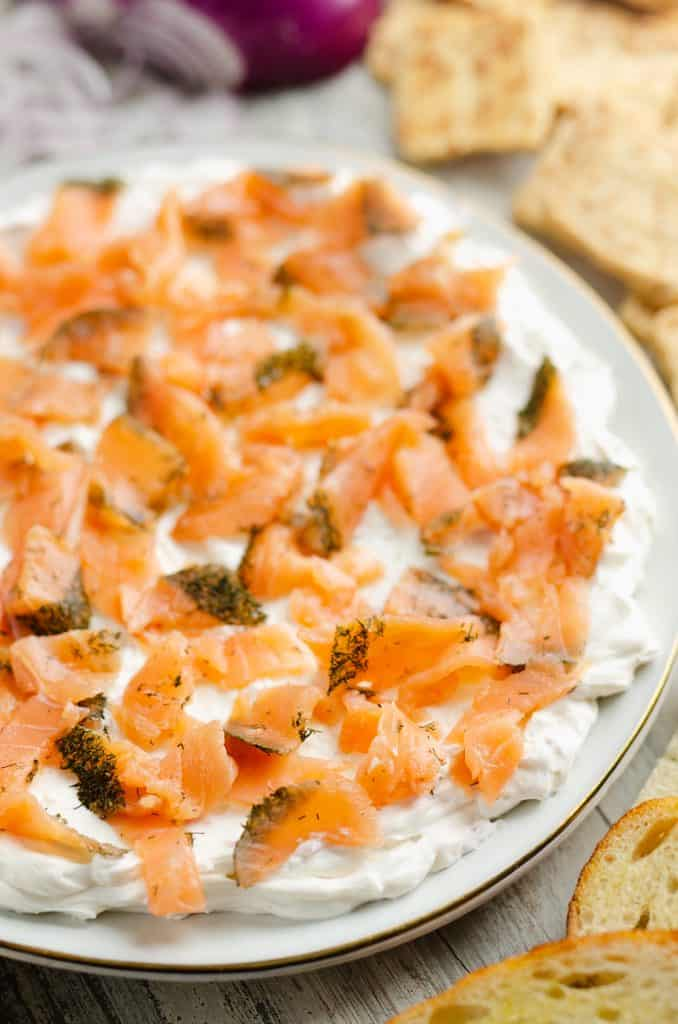 Smoked Salmon Cream Cheese Dip served on plate