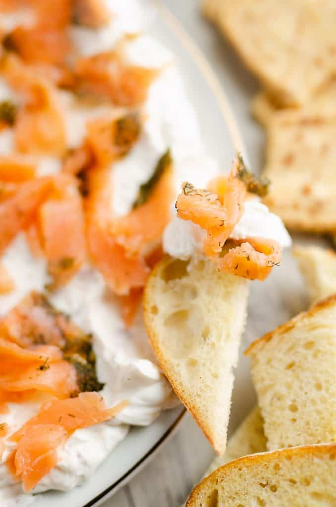 Smoked Salmon Cream Cheese Dip on bread