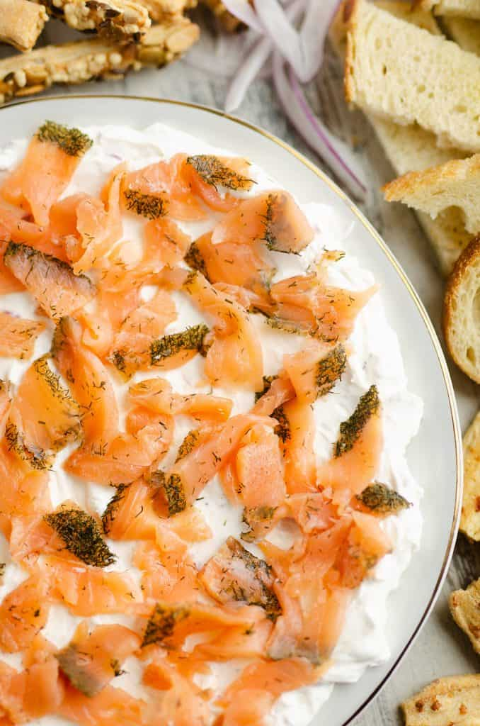 Smoked Salmon Cream Cheese Dip on table