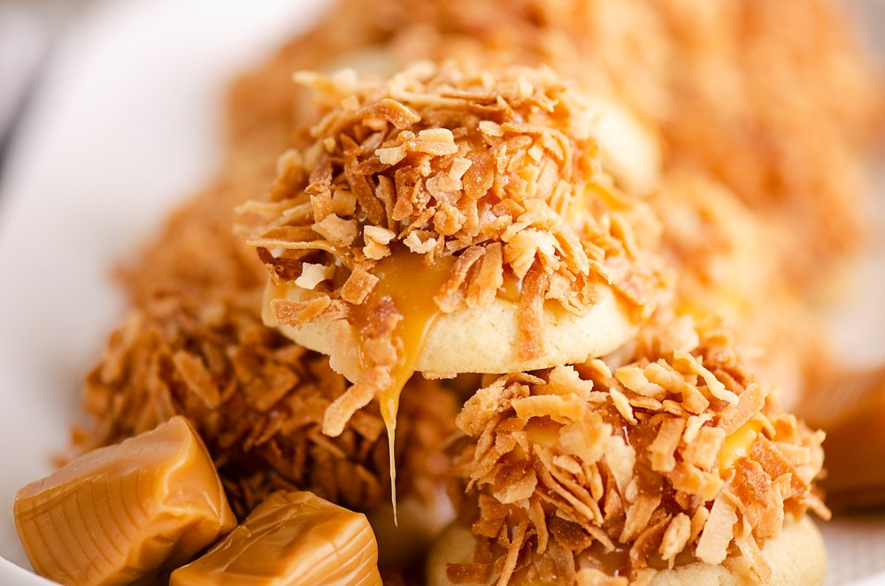 plate of toasted coconut marshmallow cookies with caramels