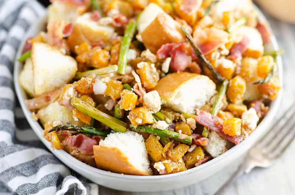 Butternut Squash Panzanella Salad on table
