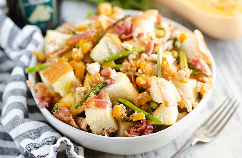 Butternut Squash Panzanella Salad served in bowl