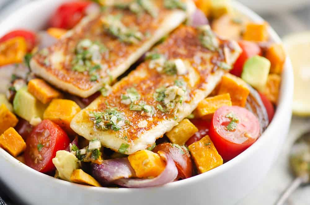 Chimichurri Roasted Vegetable Bowl topped with Grilled Cheese