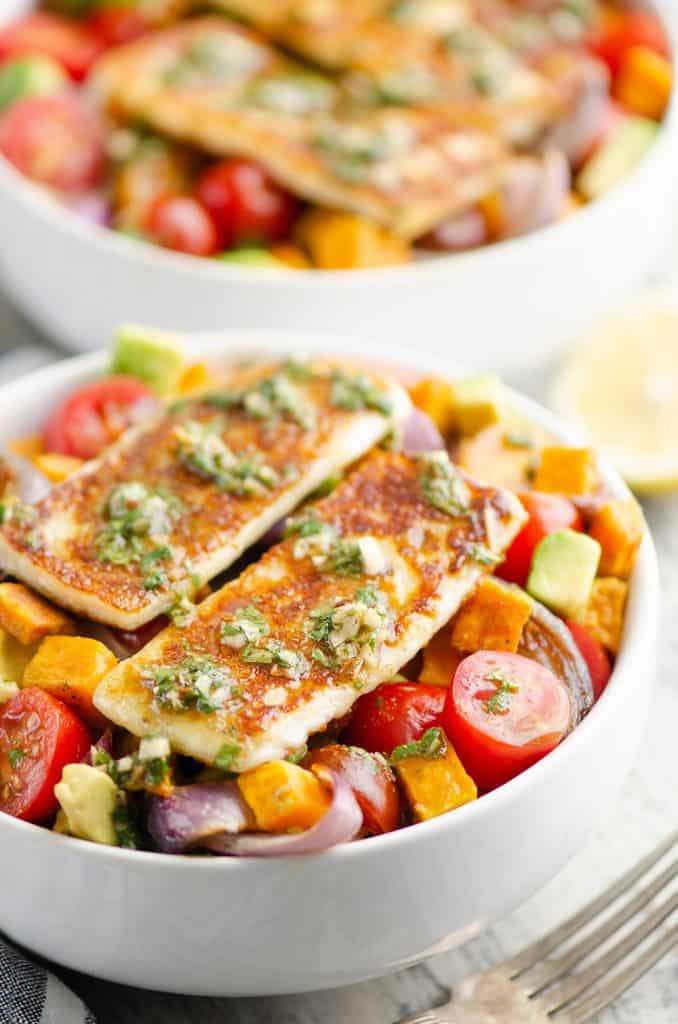 Chimichurri Roasted Vegetable Bowl topped with Haloumi Grilling Cheese