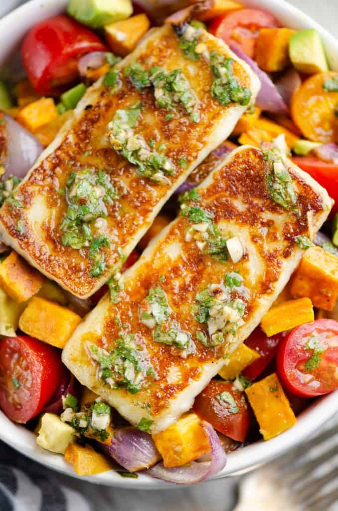 Chimichurri Roasted Vegetable Bowl topped with Grilling Cheese
