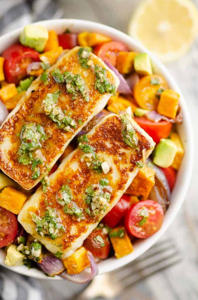 Chimichurri Roasted Vegetable Bowl topped with Grilled Halloumi Cheese