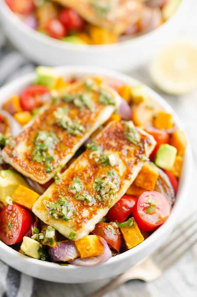 Chimichurri Roasted Vegetable Bowl with Grilled Cheese on top