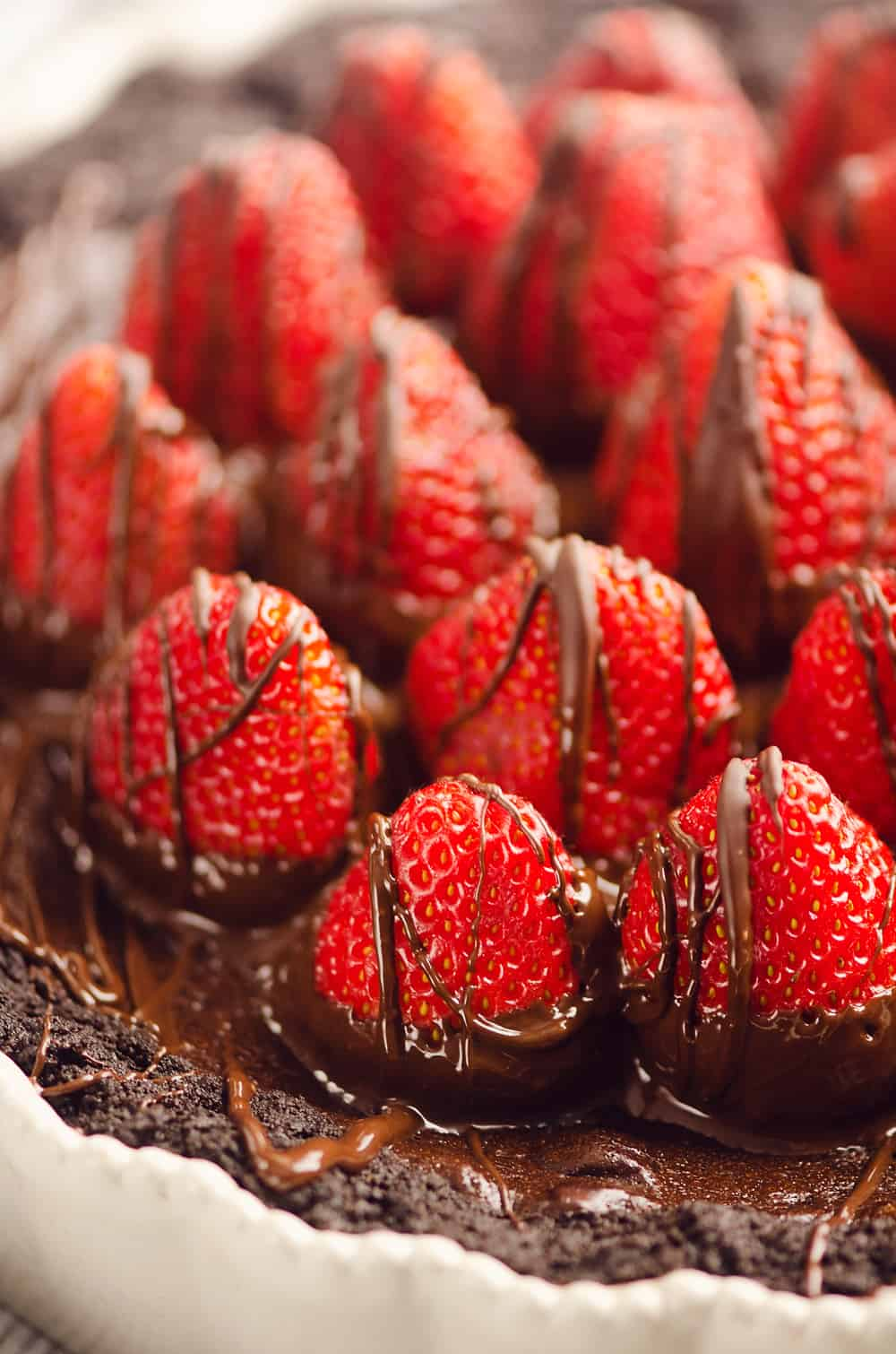 Chocolate Covered Strawberry Ganache Tart in pan