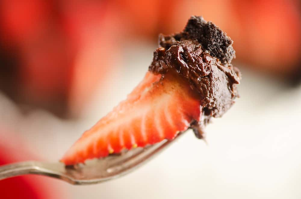Strawberry and Chocolate Ganache bite on fork