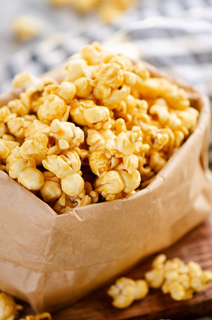 Microwave Caramel Popcorn in a brown paper bag