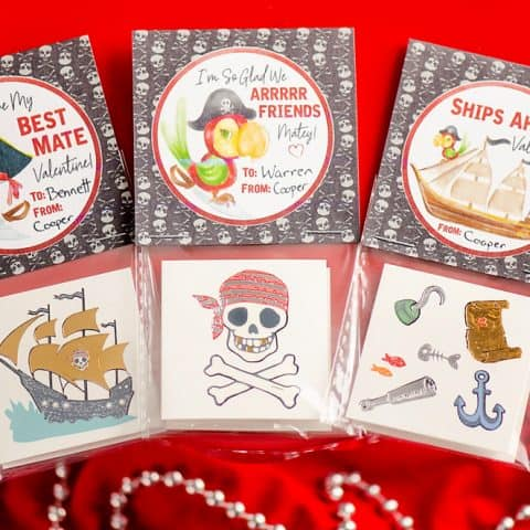 Free Printable Pirate Tattoo Valentines