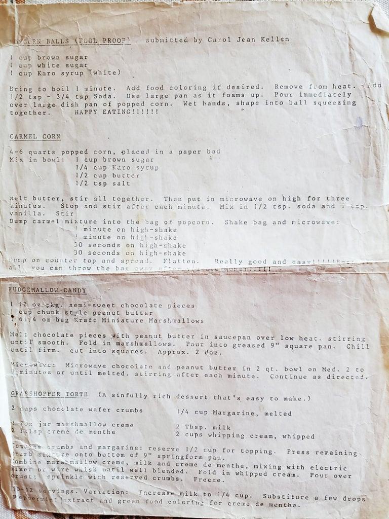 Vintage recipe card with microwave caramel corn recipe