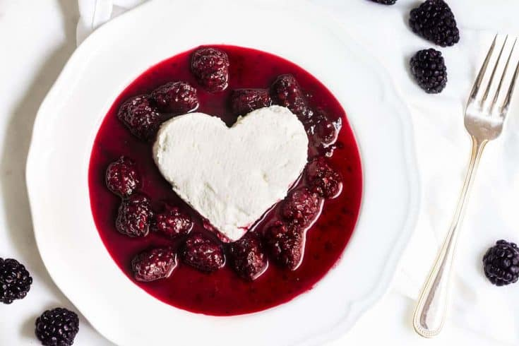 Coeur a la Creme with Blackberry Sauce