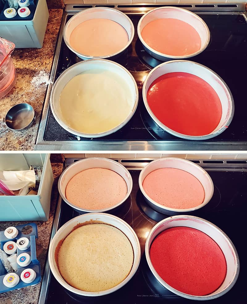 pink ombre cake layers baked