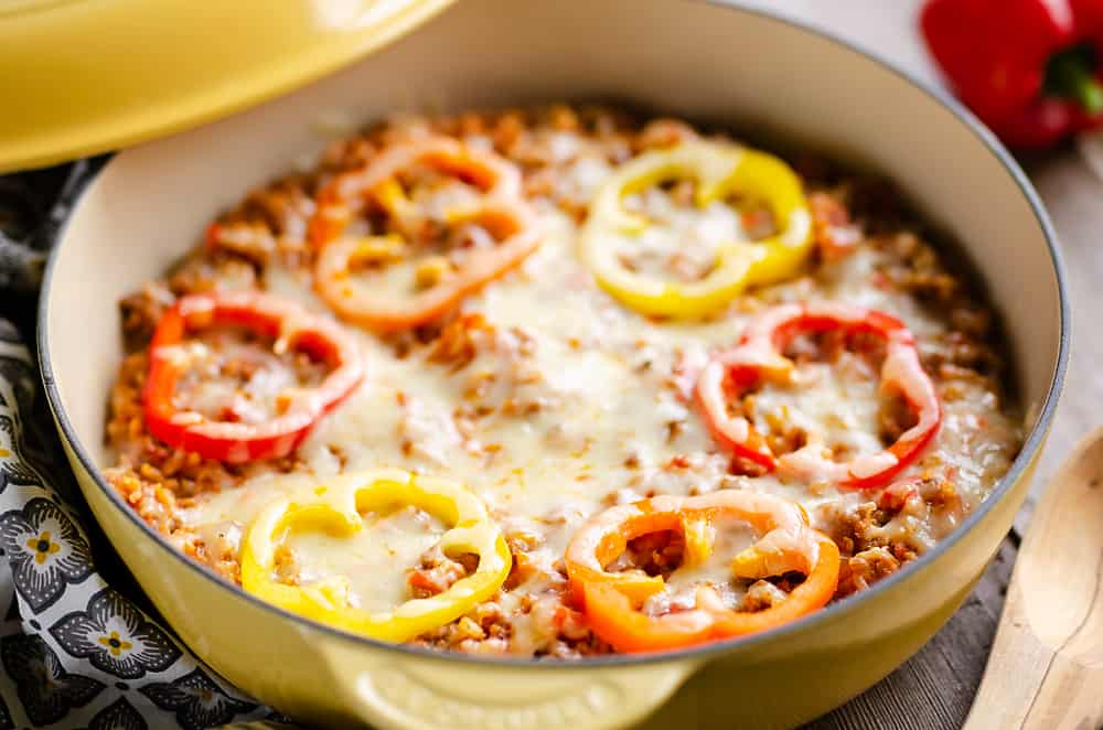 30 Minute Sausage Stuffed Pepper Skillet on table