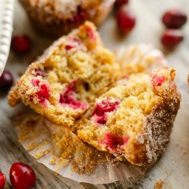 Cranberry Streusel Muffins served on table