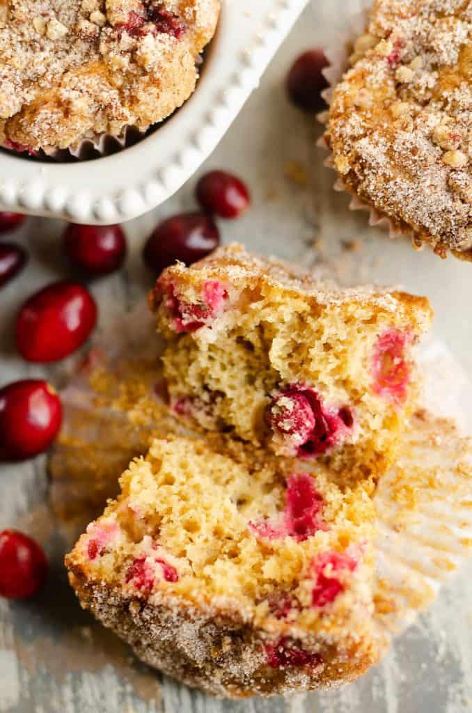 Cranberry Streusel Muffins broken in half