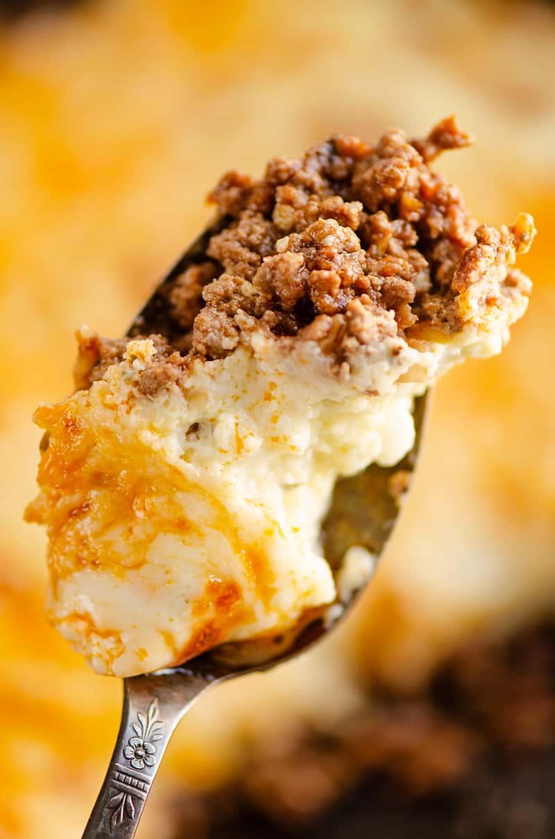 Keto Skillet Lasagna spoonful