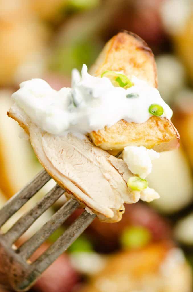Lemon Feta Sheet Pan Chicken Thighs & Potatoes bite on fork