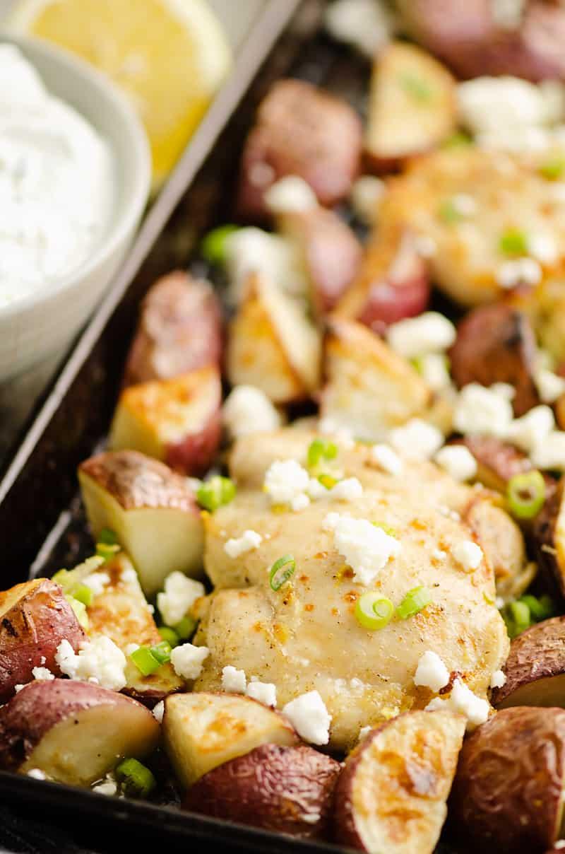 Lemon Feta Sheet Pan Chicken Thighs & Potatoes dinner