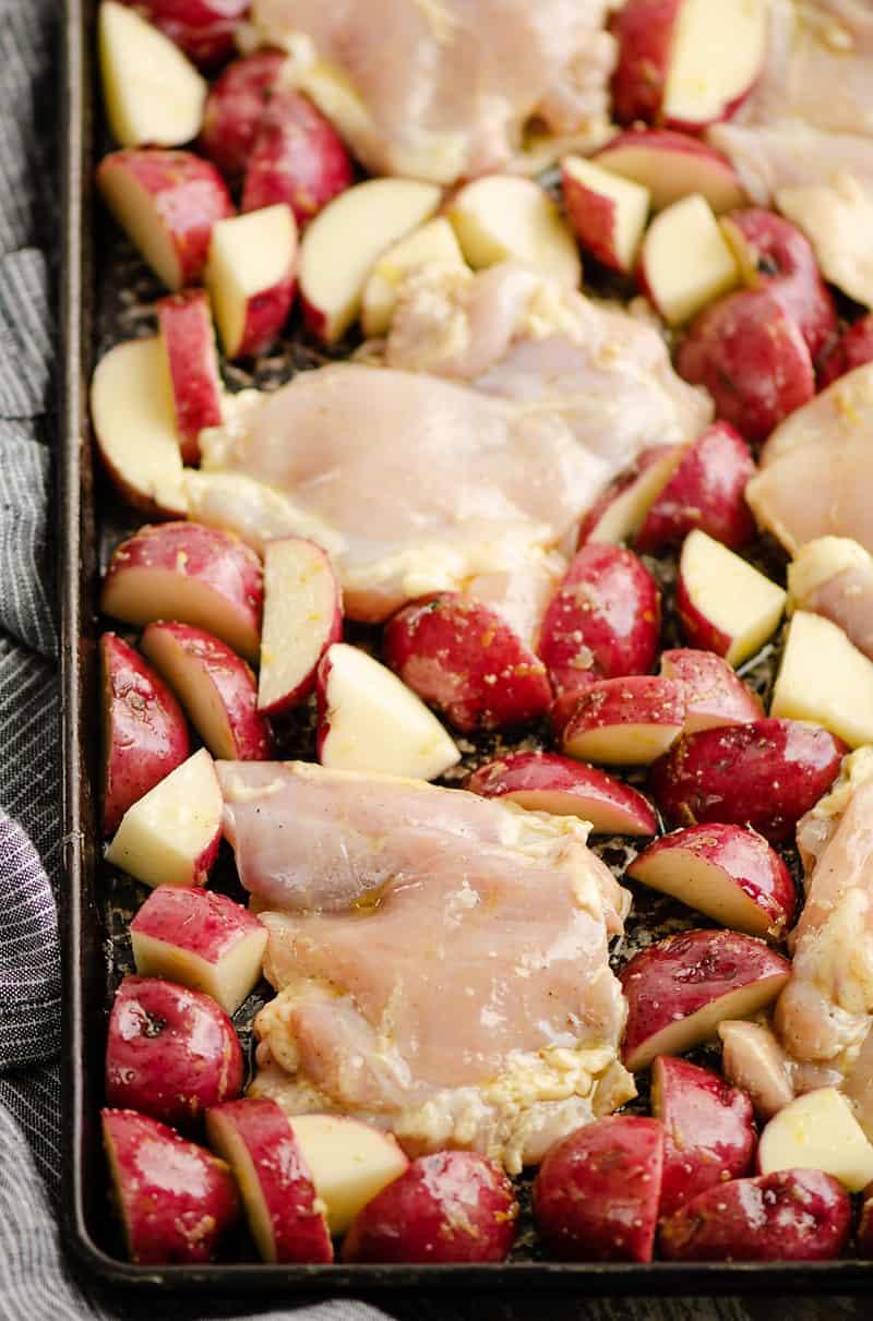 Lemon Feta Sheet Pan Chicken Thighs & Potatoes ready to bake