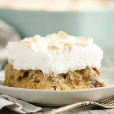 Sour Cream Raisin Meringue Bars on plate