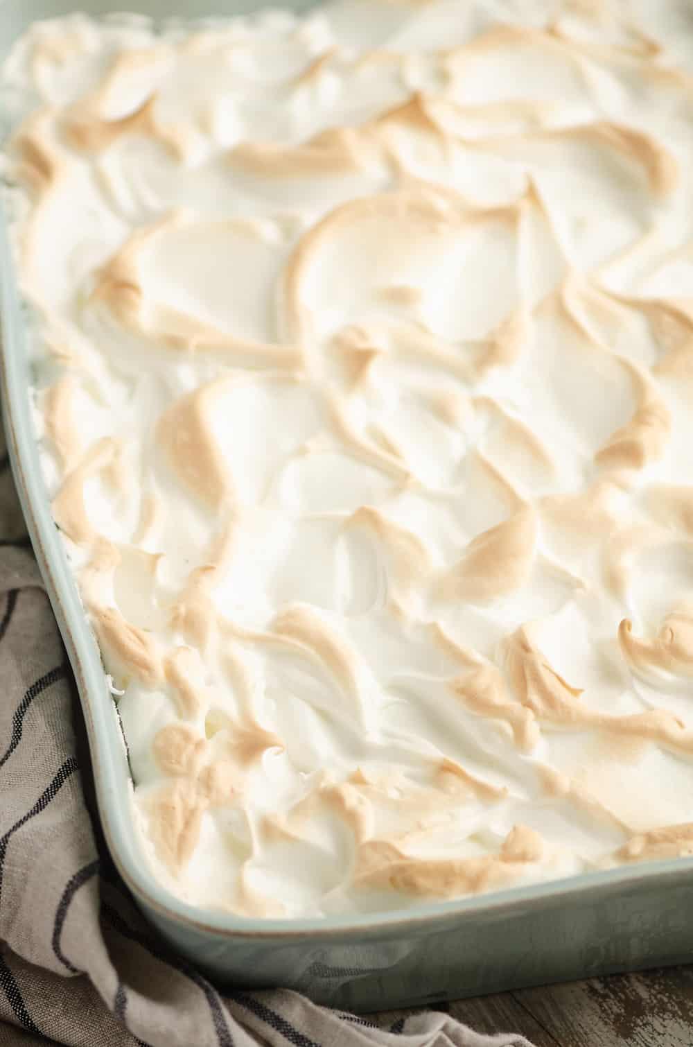 Sour Cream Raisin Meringue Bars in 9x13 pan