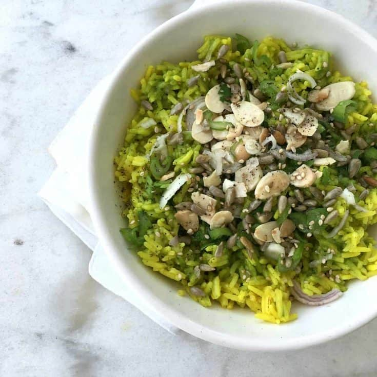 Basmati rice with salsa verde, seeds and almonds