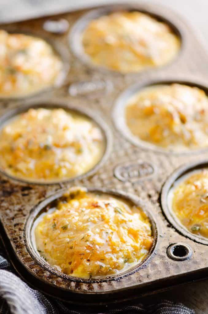 Buttery Tuna Rice Muffins in muffin tin