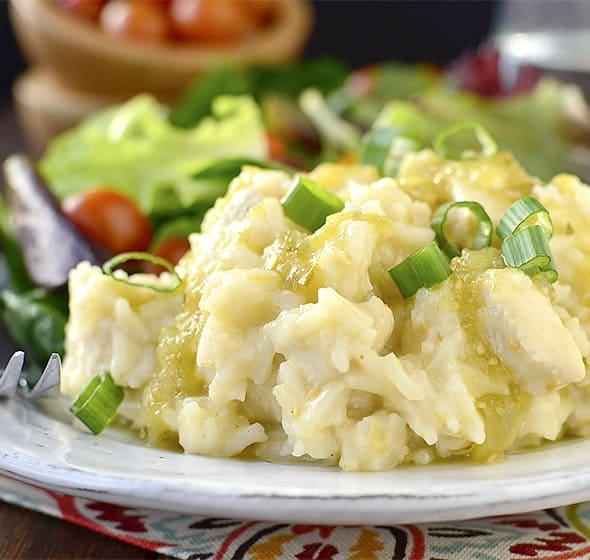 Cheesy Salsa Verde Chicken and Rice
