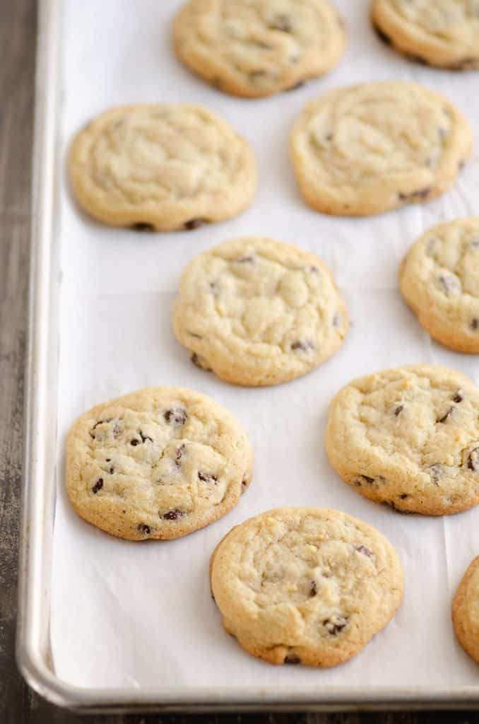 Chocolate Chip Cookies on parchment paper lined baking sheet