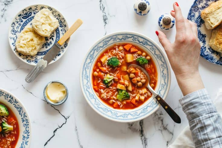 Minestrone Soup With Chickpeas And Rice