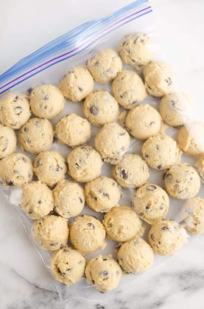 Frozen Chocolate Chip Cookie Dough Pucks in resealable bag
