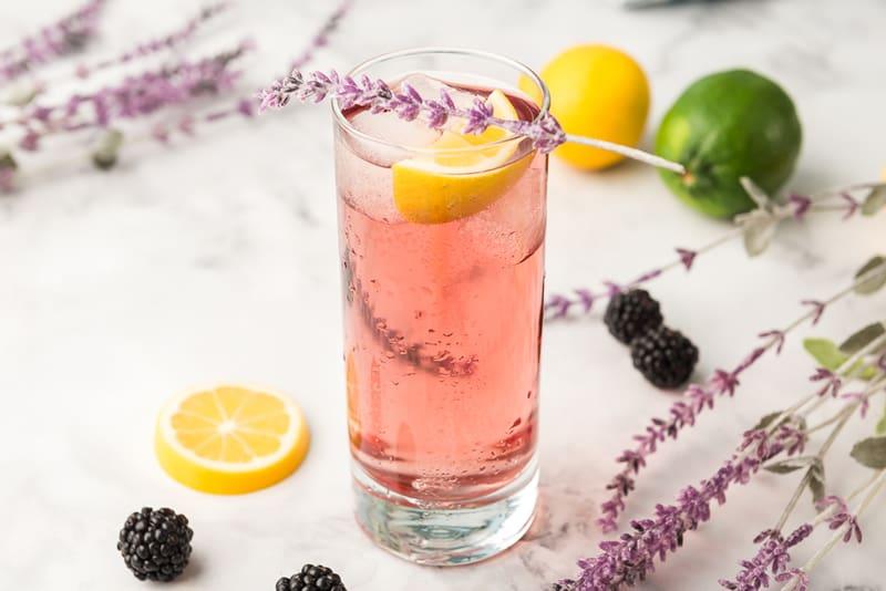 Purple Rain Cocktail served with lemon wedge and lavendar