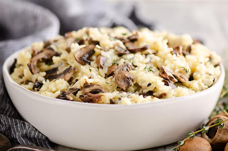 Pressure Cooker Mushroom Risotto in bowl on table