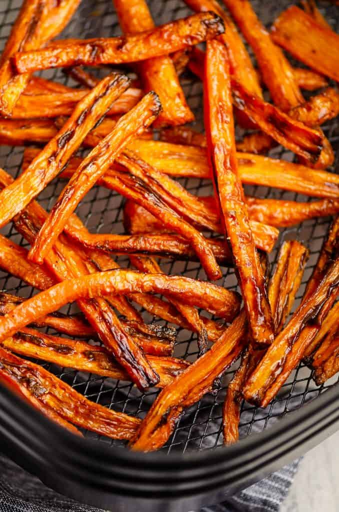 Crispy Carrot Fries in Air Fryer basket