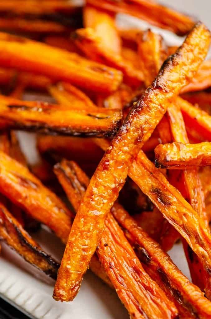Carrot Fries piled on white platter
