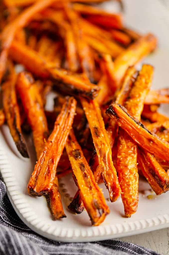 Crispy Carrot Fries on white platter