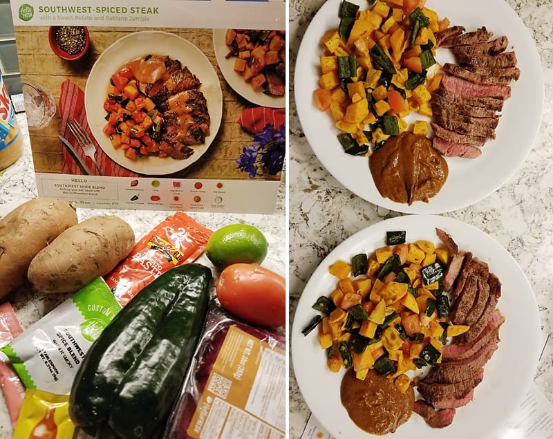 Hello Fresh collage of pictures featuring southwest spiced steak and vegetables