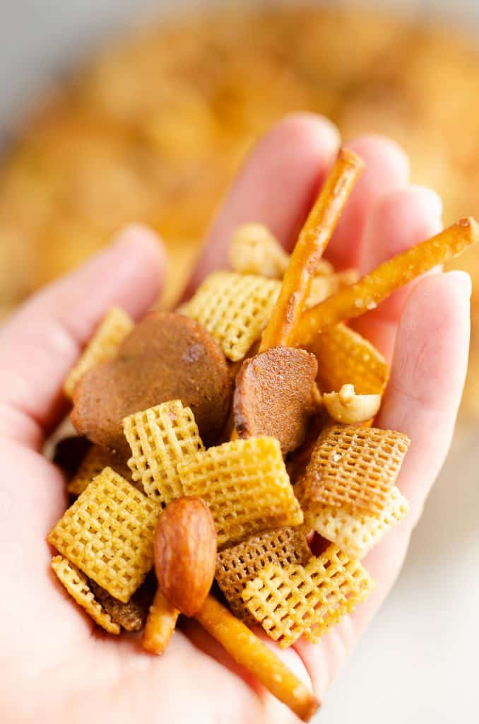 handful of buttery snack mix